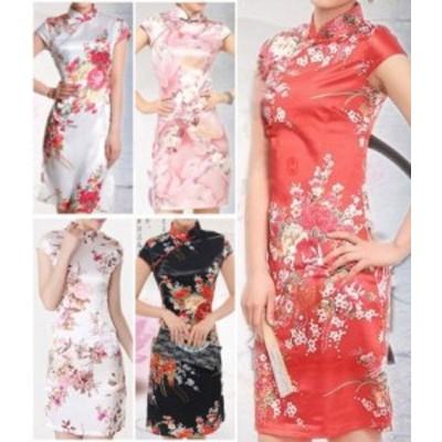 花柄 ショート丈 半袖 チャイナドレス シルキー スリム 両面柄 パーティードレス エロティック 中国風 ステージコスプレ