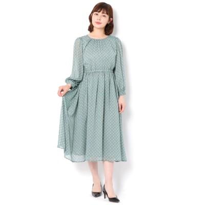 【テチチ/Te chichi】 カットドビー小紋花柄ワンピース LS