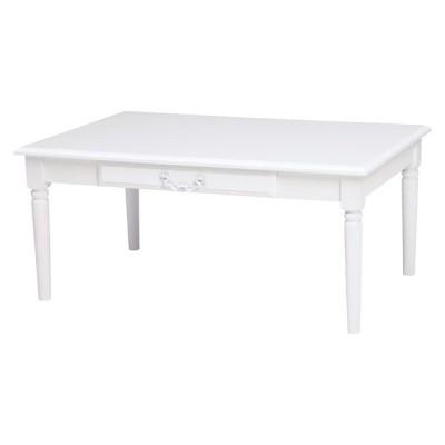 テーブル 幅90cm 奥行60 高さ40cm センターテーブル ローテーブル テーブル 引出し 白 白家具 MT-5749WH