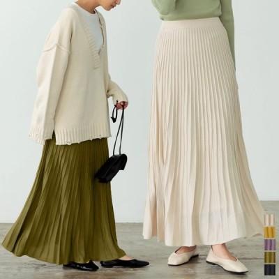 ニットスカート レディース ロングスカート プリーツ風スカート ウエストゴム カラースカート SCサイズ 低身長向けSサイズ有 2021春
