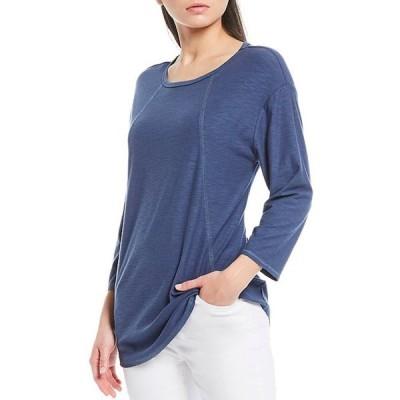 ウエストバウンド レディース Tシャツ トップス 3/4 Sleeve Seam Solid Cotton Blend Tee