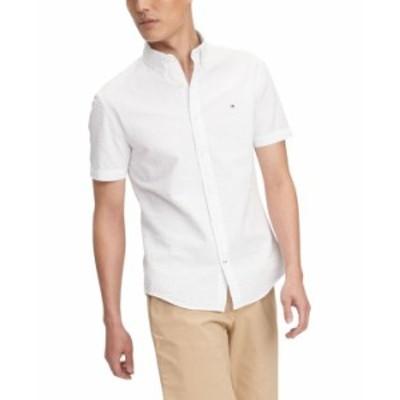 トミー ヒルフィガー メンズ シャツ トップス Men's Custom-Fit Zack Solid Seersucker Shirt Bright White