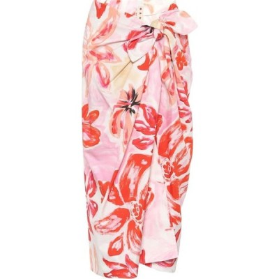 マルニ Marni レディース ひざ丈スカート ラップスカート スカート Floral cotton-blend midi wrap skirt Pink Clematis