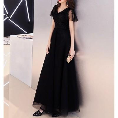 20代 背中のレースアップが大人可愛い黒の上品ロングドレス 30代 40代 新作