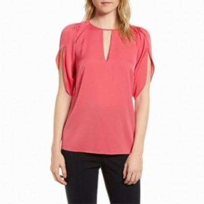 Split スプリット ファッション トップス Lewit NEW Pink Womens Size Small S Split Sleeve Keyhole Blouse Silk