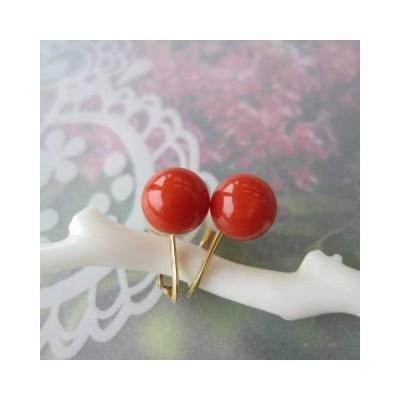 イタリア産赤珊瑚のイヤリング(7.2ミリ)/K18/イヤーアクセサリー/コーラル/『宝石サンゴ』