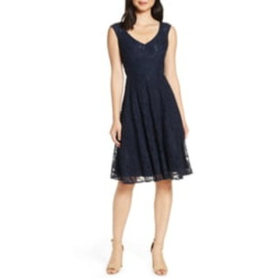 エリザジェイ ワンピース トップス レディース Lace Fit & Flare Dress Navy