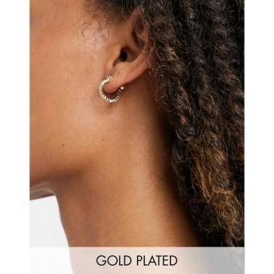ピーシーズ Pieces レディース イヤリング・ピアス ジュエリー・アクセサリー 18K Gold Plated Crystal Hoops In Gold