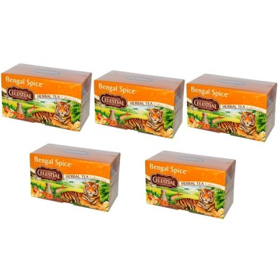 「お得な5箱セット」Celestial Seasonings社ハーバルティーベンガルスパイスカフェインフリーティーバッグ20袋×5箱