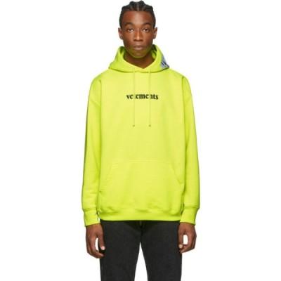 ヴェトモン VETEMENTS メンズ パーカー トップス Yellow Logo Hoodie Fluo yellow