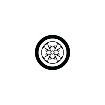 家紋シール 丸に四方瓜四つ剣紋 直径4cm 丸型 白紋 4枚セット KS44M-0609W