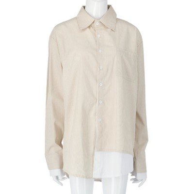 Settimissimo ストライプサイドレイヤードデザインシャツ(ベージュ)