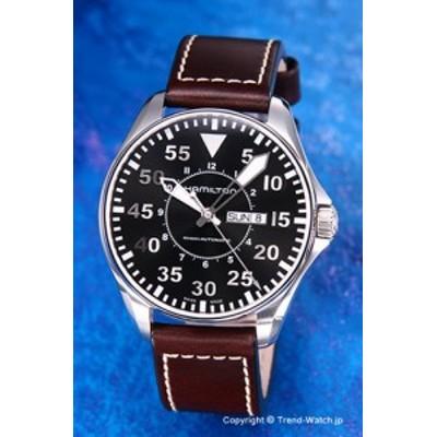 ハミルトン 腕時計 Khaki Pilot (カーキ パイロット) ブラック/ダークブラウンレザー 46mm H64715535