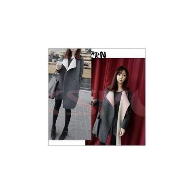 襟元オシャレ/ストレート/ゆったりコート/アウター/大きいサイズ有/SからXXL/