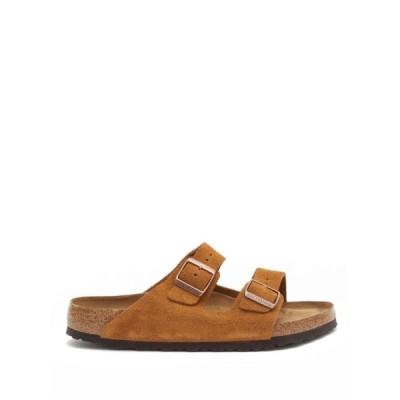 ビルケンシュトック Birkenstock メンズ サンダル シューズ・靴 Arizona two-strap suede slides Tan brown