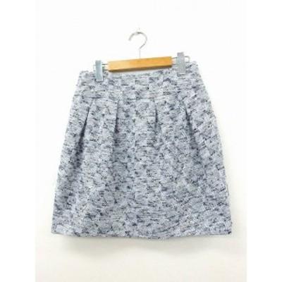 【中古】ジルスチュアート JILL STUART スカート 台形スカート ミニ ギャザー 綿 コットン 総柄 4 ブルー 青 /KT14 レディース