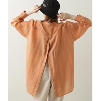 (DOUBLE NAME/ダブルネーム)BACKボタンバンドカラーシアーシャツ/レディース オレンジ