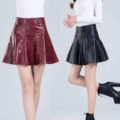 フレアスカート プリーツスカート Aラインスカート レディース レザースカート  フェイクレザー 革スカート 美シルエット ミニスカート ショート  美脚 シンプル