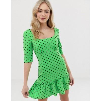 エイソス レディース ワンピース トップス ASOS DESIGN polka dot mini dress with pep hem