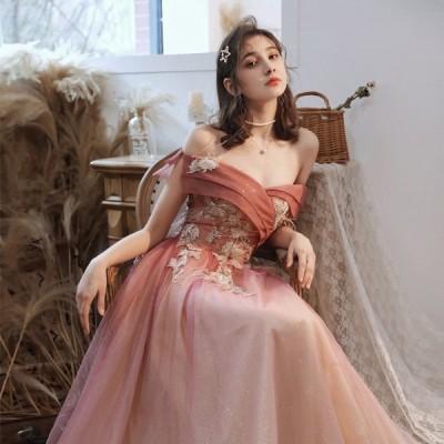 ウエディングドレス イブニングドレス パーティードレス 安い 可愛い ロング カラードレス 結婚式 披露宴