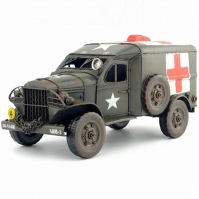 トラック ミリタリー 車  軍用  赤十字 ブリキのおもちゃ レトロ アンティーク インテリア 置物 ドールハウス 小物 BJD人形