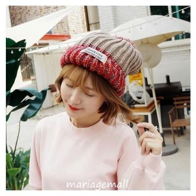 ニット帽子レディースふわふわ小顔効果ケーブル編みオシャレ配色英文字旬の英国風可愛いアウトドア防寒小物