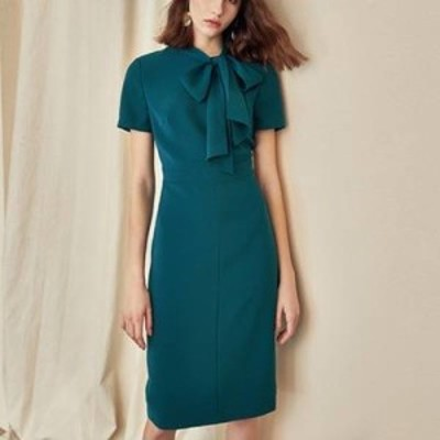 リボンタイがおしゃれなタイトドレス 2色 エレガント ワンピース 半袖 無地 ボウタイ シンプル ひざ丈 スリム おしゃれ フォーマル