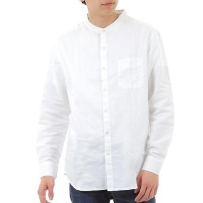 ノーカラーシャツ バンドカラー 麻 メンズ長袖 【襟なしシンプルおしゃれ】