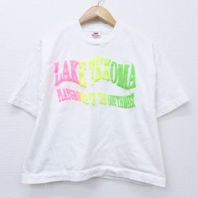 古着 レディース 半袖 ビンテージ Tシャツ 80年代 80s LAKE ショート丈 コットン クルーネック USA製 白 ホワイト 中古 Tシャツ 古着