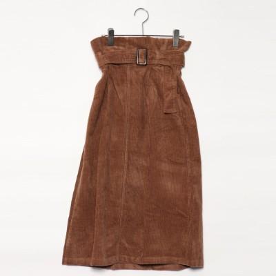スタイルブロック STYLEBLOCK コーデュロイハイウエストロングスカート (キャメル)