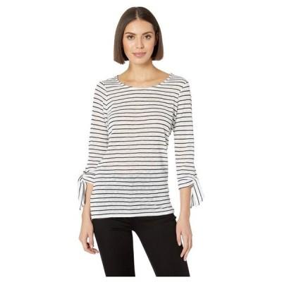 トリバル レディース シャツ トップス Yarn-Dye Stripe 3/4 Sleeve Top w/ Ties
