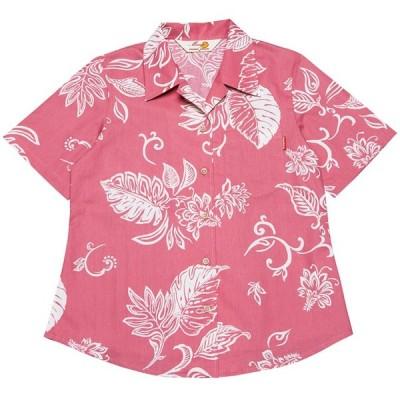 かりゆしウェア(沖縄アロハシャツ)レディース MANGO デイゴモンステラ オープンシャツ ピンク