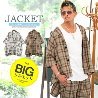 テーラード ジャケット メンズ 半袖 5分袖 チェック柄 ビッグシルエット アウター ストリート