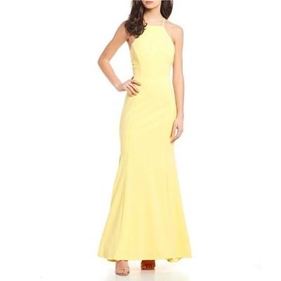モルガン レディース ワンピース トップス High Neck Lace-Up-Back Long Dress
