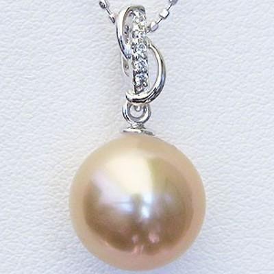 真珠 パール 南洋白蝶真珠 10mm ゴールド系 ペンダントトップ ホワイトゴールド ゴールデンパール