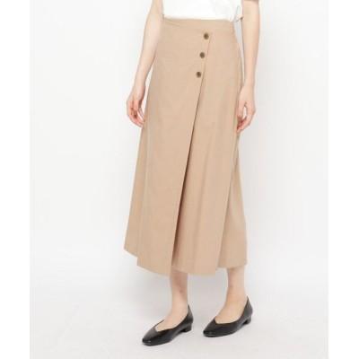 Airpapel/エアパペル 【ハンドウォッシュ】麻混ラップボタンスカート ベージュ(052) 11(L/ミセス)
