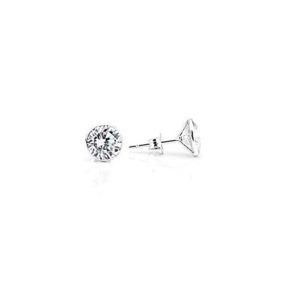 14K White Gold Handmade Stud Earrings With 7 MM Round Cubic Zirconia 4.30 Carats