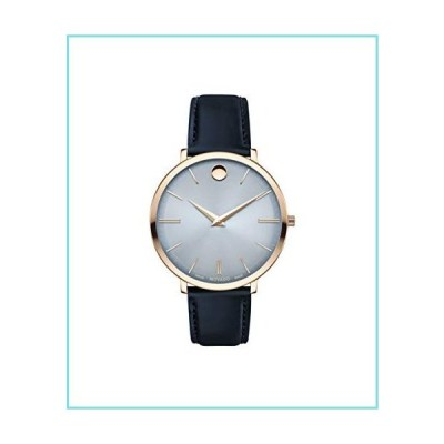 Movado Ultra Slim, Pale Rose Gold PVD Case, Blue Dial, Navy Leather Strap, Women, 0607402【並行輸入品】