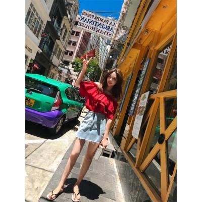 限定発売 高品質で 韓国ファッション CHIC気質 小さい新鮮な オフショルダー フリル 半袖 トップス
