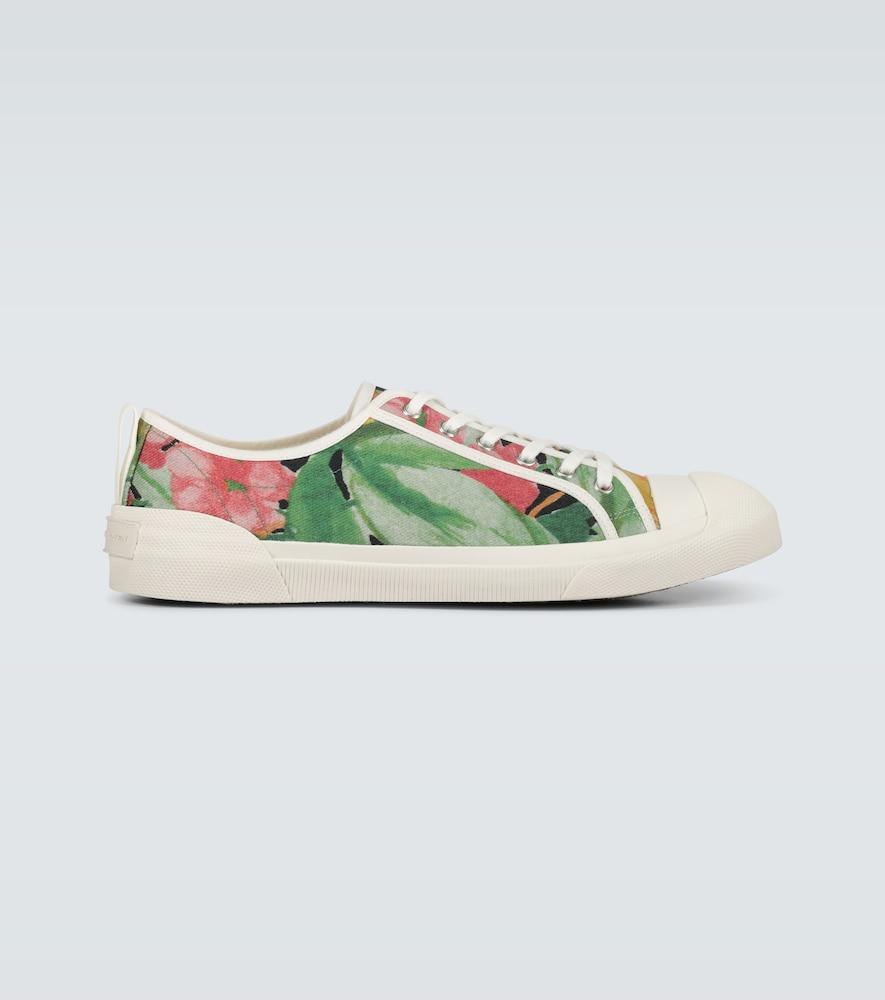 Floral printed canvas sneakers