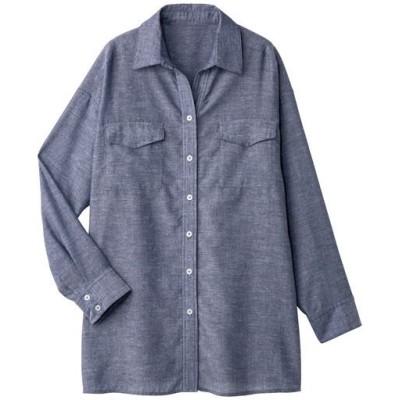 ダブルポケットシャツ(接触冷感)/ネイビー系/L