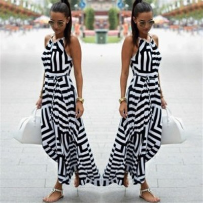 レディースファッションツ 夏のドレスの女性セクシーな自由奔放に生きるストライプノースリーブマキシロングビーチスタイルストラップサ