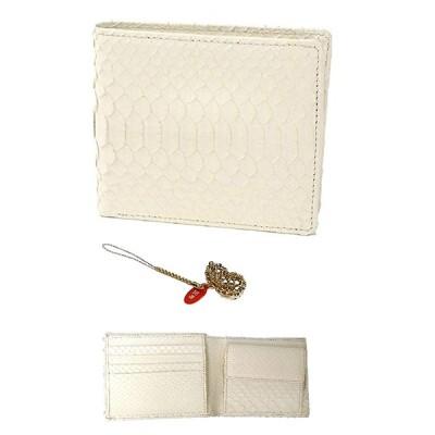 白蛇 金運 アップ 二つ折り財布 高級 錦蛇 表裏 無双 札入 本革 パイソン レザー 日本製 (瓢箪 ひょうたん)