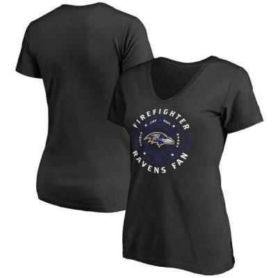 レディース スポーツリーグ フットボール Baltimore Ravens NFL Pro Line Women's Firefighter V-Neck T-Shirt - Black Tシャツ