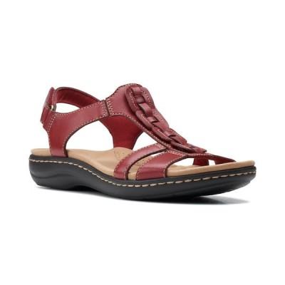 クラークス サンダル シューズ レディース Laurieann Kay T-strap Slingback Sandals Red Leather