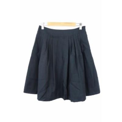 【中古】ナチュラルビューティーベーシック NATURAL BEAUTY BASIC スカート ミニ フレア プリーツ 無地 S 紺 レディース