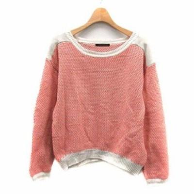 【中古】バンヤードストーム BARNYARDSTORM ニット セーター 総柄 長袖 1 ピンク /YI4 レディース