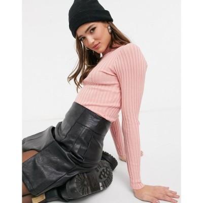 スレッドベア レディース ニット&セーター アウター Threadbare hannah crew neck ribbed sweater Pink