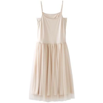 【大きいサイズ】 汗取り当て布付チュール使いインナーワンピース ワンピース, plus size dress