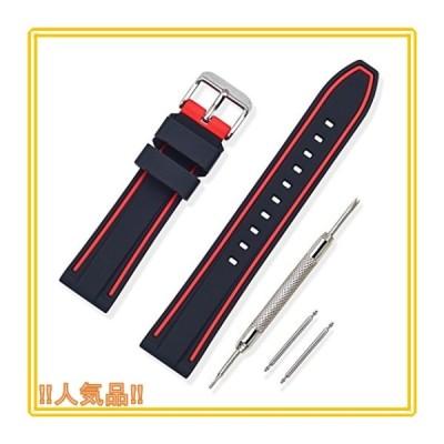 時計 ベルト 腕時計 ベルト 時計 ベルト ラバー 腕時計ストラップ 防水 スポーツ 柔らか - 18mm 20mm 22mm 24mm シリコ